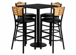 30'' Square Black Table Set with 4 Wood Slat Back Metal Bar Stools - Black Vinyl Seat - MD-0019-GG