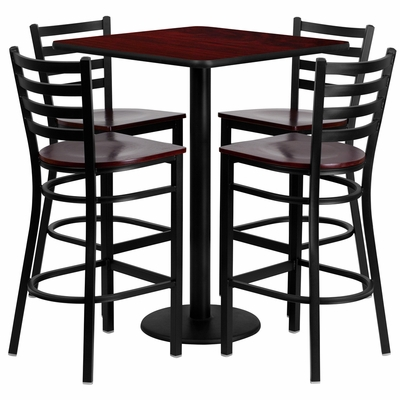 30'' Square Mahogany Laminate Table Set with 4 Ladder Back Metal Bar Stools - MD-0014-GG