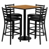 30'' Square Natural Table Set with 4 Vinyl Seat Bar Stools - MD-0012-GG
