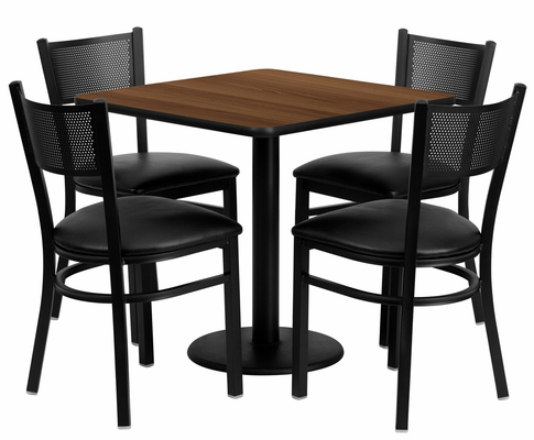 30'' Square Walnut Laminate Table Set with 4 Metal Chairs - MD-0005-GG