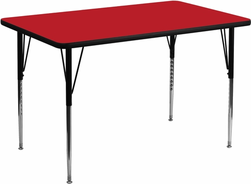 30''W x 48''L Rectangular Activity Table, 1.25'' Thick High Pressure Red Laminate Top & Standard Height Adjustable Legs - XU-A3048-REC-RED-H-A-GG