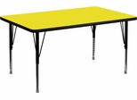30''W x 48''L Rectangular Activity Table, 1.25'' Thick High Pressure Yellow Laminate Top & Height Adjustable Pre-School Legs - XU-A3048-REC-YEL-H-P-GG