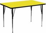 30''W x 48''L Rectangular Activity Table, 1.25'' Thick High Pressure Yellow Laminate Top & Standard Height Adjustable Legs - XU-A3048-REC-YEL-H-A-GG