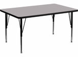 30''W x 48''L Rectangular Activity Table, Grey Thermal Fused Laminate Top & Height Adjustable Pre-School Legs - XU-A3048-REC-GY-T-P-GG
