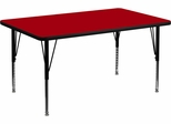 30''W x 48''L Rectangular Activity Table, Red Thermal Fused Laminate Top & Height Adjustable Pre-School Legs - XU-A3048-REC-RED-T-P-GG