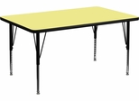 30''W x 48''L Rectangular Activity Table, Yellow Thermal Fused Laminate Top & Height Adjustable Pre-School Legs - XU-A3048-REC-YEL-T-P-GG