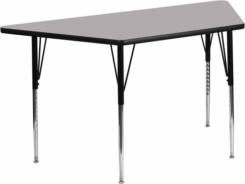 30''W x 60''L  Gray Trapezoid Activity Table with Standard Adjustable Legs - XU-A3060-TRAP-GY-T-A-GG