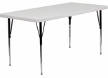 30''W x 60''L Height Adjustable Rectangular Granite White Plastic Activity Table  - RB-2860-GRY-A-GG