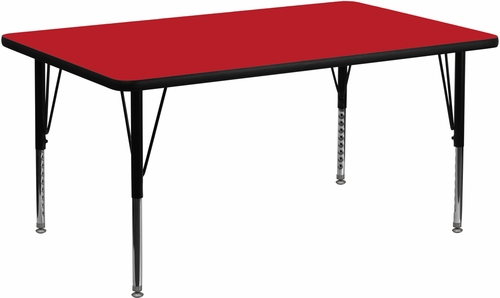 30''W x 60''L Rectangular Activity Table, 1.25'' Thick High Pressure Red Laminate Top & Height Adjustable Pre-School Legs - XU-A3060-REC-RED-H-P-GG