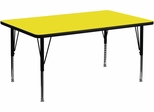 30''W x 60''L Rectangular Activity Table, 1.25'' Thick High Pressure Yellow Laminate Top & Height Adjustable Pre-School Legs - XU-A3060-REC-YEL-H-P-GG