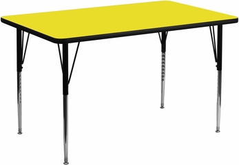 30''W x 60''L Rectangular Activity Table, 1.25'' Thick High Pressure Yellow Laminate Top & Standard Height Adjustable Legs - XU-A3060-REC-YEL-H-A-GG