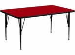 30''W x 60''L Rectangular Activity Table, Red Thermal Fused Laminate Top & Height Adjustable Pre-School Legs - XU-A3060-REC-RED-T-P-GG