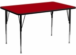 30''W x 60''L Rectangular Activity Table, Red Thermal Fused Laminate Top & Standard Height Adjustable Legs - XU-A3060-REC-RED-T-A-GG