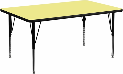 30''W x 60''L Rectangular Activity Table, Yellow Thermal Fused Laminate Top & Height Adjustable Pre-School Legs - XU-A3060-REC-YEL-T-P-GG