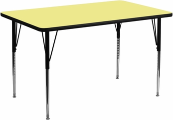 30''W x 60''L Rectangular Activity Table, Yellow Thermal Fused Laminate Top & Standard Height Adjustable Legs - XU-A3060-REC-YEL-T-A-GG