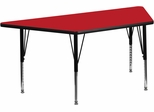 30''W x 60''L  Red High Pressure Top Trapezoid Activity Table with Adjustable Pre-School Legs - XU-A3060-TRAP-RED-H-P-GG