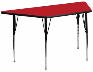 30''W x 60''L  Red High Pressure Top Trapezoid Activity Table with Standard Height Adjustable Legs - XU-A3060-TRAP-RED-H-A-GG