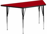 30''W x 60''L  Red Trapezoid Activity Table with Standard Height Adjustable Legs - XU-A3060-TRAP-RED-T-A-GG