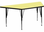 30''W x 60''L Trapezoid Activity Table with Height Adjustable Pre-School Legs - XU-A3060-TRAP-YEL-T-P-GG