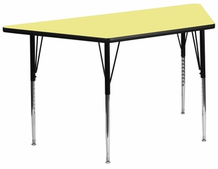 30''W x 60''L Trapezoid Activity Table, Yellow Thermal Fused Laminate Top & Standard Height Adjustable Legs - XU-A3060-TRAP-YEL-T-A-GG