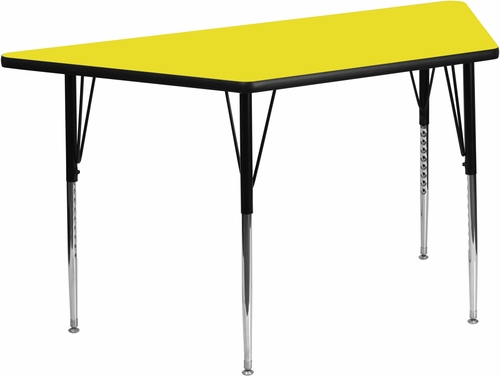 30''W x 60''L  Yellow High Pressure Top Trapezoid Activity Table with Standard Height Adjustable Legs - XU-A3060-TRAP-YEL-H-A-GG