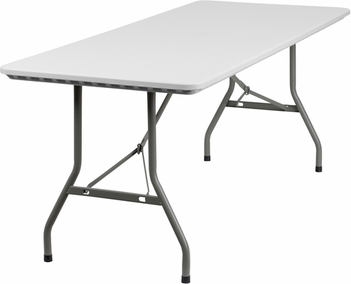 30''W x 72''L Granite White Plastic Folding Table  - RB-3072-GG