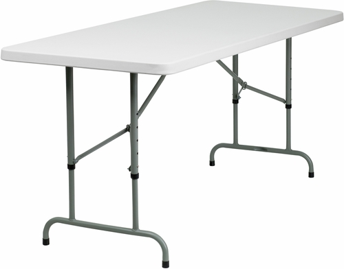 30''W x 72''L Height Adjustable Granite White Plastic Folding Table  - RB-3072ADJ-GG