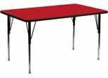 30''W x 72''L Rectangular Activity Table, 1.25'' Thick High Pressure Red Laminate Top & Standard Height Adjustable Legs - XU-A3072-REC-RED-H-A-GG