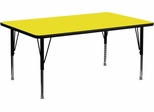 30''W x 72''L Rectangular Activity Table, 1.25'' Thick High Pressure Yellow Laminate Top & Height Adjustable Pre-School Legs - XU-A3072-REC-YEL-H-P-GG