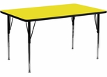 30''W x 72''L Rectangular Activity Table, 1.25'' Thick High Pressure Yellow Laminate Top & Standard Height Adjustable Legs - XU-A3072-REC-YEL-H-A-GG