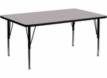 30''W x 72''L Rectangular Activity Table, Grey Thermal Fused Laminate Top & Height Adjustable Pre-School Legs - XU-A3072-REC-GY-T-P-GG