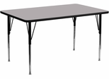 30''W x 72''L Rectangular Activity Table, Grey Thermal Fused Laminate Top & Standard Height Adjustable Legs - XU-A3072-REC-GY-T-A-GG