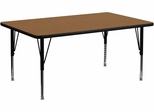 30''W x 72''L Rectangular Activity Table, Oak Thermal Fused Laminate Top & Height Adjustable Pre-School Legs - XU-A3072-REC-OAK-T-P-GG