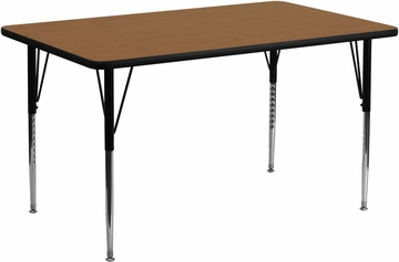 30''W x 72''L Rectangular Activity Table, Oak Thermal Fused Laminate Top & Standard Height Adjustable Legs - XU-A3072-REC-OAK-T-A-GG