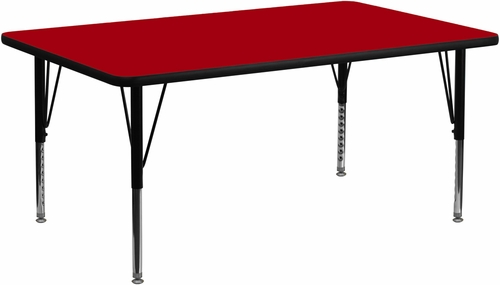 30''W x 72''L Rectangular Activity Table, Red Thermal Fused Laminate Top & Height Adjustable Pre-School Legs - XU-A3072-REC-RED-T-P-GG