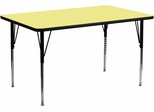 30''W x 72''L Rectangular Activity Table, Yellow Thermal Fused Laminate Top & Standard Height Adjustable Legs - XU-A3072-REC-YEL-T-A-GG