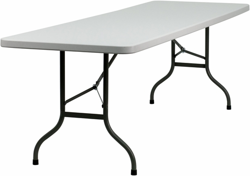 30''W x 96''L Granite White Plastic Folding Table  - HY-244-T016-GG