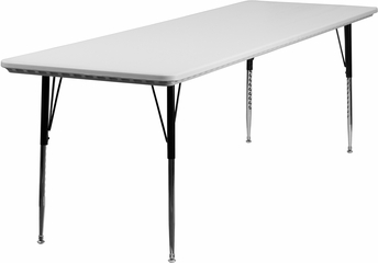 30''W x 96''L Height Adjustable Rectangular Granite White Plastic Activity Table  - RB-3096-GRY-A-GG