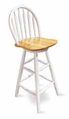 "30"" Windsor Arrowback Swivel Stool in White / Natural - 613-2"