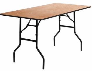 30'' x 60'' Wood Folding Table with Clear Coated Top - YT-WTFT30X60-TBL-GG