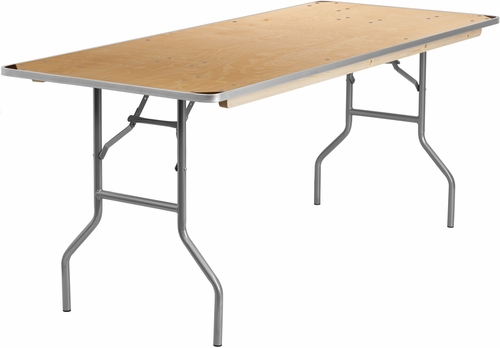30'' x 72'' Rectangular HEAVY DUTY Birchwood Folding Banquet Table - XA-3072-BIRCH-M-GG