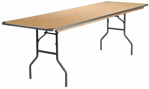 30'' x 96'' Rectangular HEAVY DUTY Birchwood Folding Banquet Table - XA-3096-BIRCH-M-GG