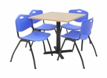 "30""x30"" Table and 4 ""M"" Stack Chairs Set - TBS30BESC47"