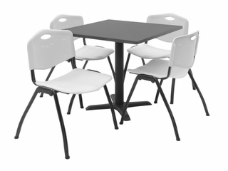 "30""x30"" Table and 4 ""M"" Stack Chairs Set - TBS30GYSC47"