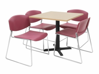 "30""x30"" Table and 4 Zeng Stack Chairs Set - TBS30BESC44"