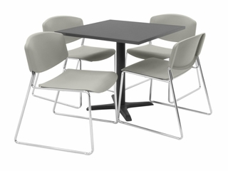 "30""x30"" Table and 4 Zeng Stack Chairs Set - TBS30GYSC44"