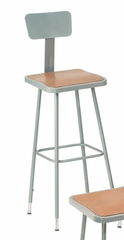 "31""-39"" Adjustable Lab Stool with Backrest - National Public Seating - 6330HB"