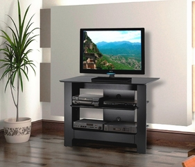 31 Inch Tall TV Console in Glossy Black - Alpine - Nexera Furniture - 100206