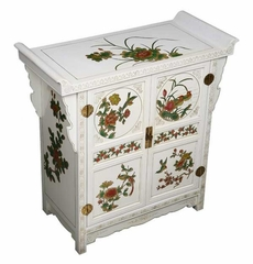 "31"" Pagoda Style Storage Cabinet with Four Seasons Motif in White - frc1214"