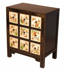 "31"" Painted Chinese Curio / Storage Cabinet in Black / White - frc1085"